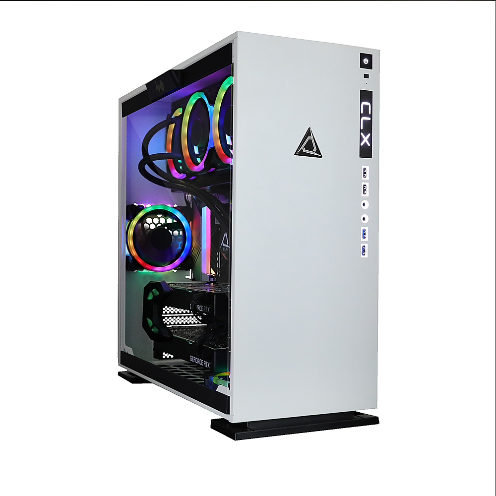 Front Zoom. CLX - SET Gaming Desktop - AMD Ryzen™ Threadripper™ 3960X - 64GB Memory - Dual (2x) GeForce RTX 2080 Ti - 6TB HDD + 512GB SSD - White/RGB.