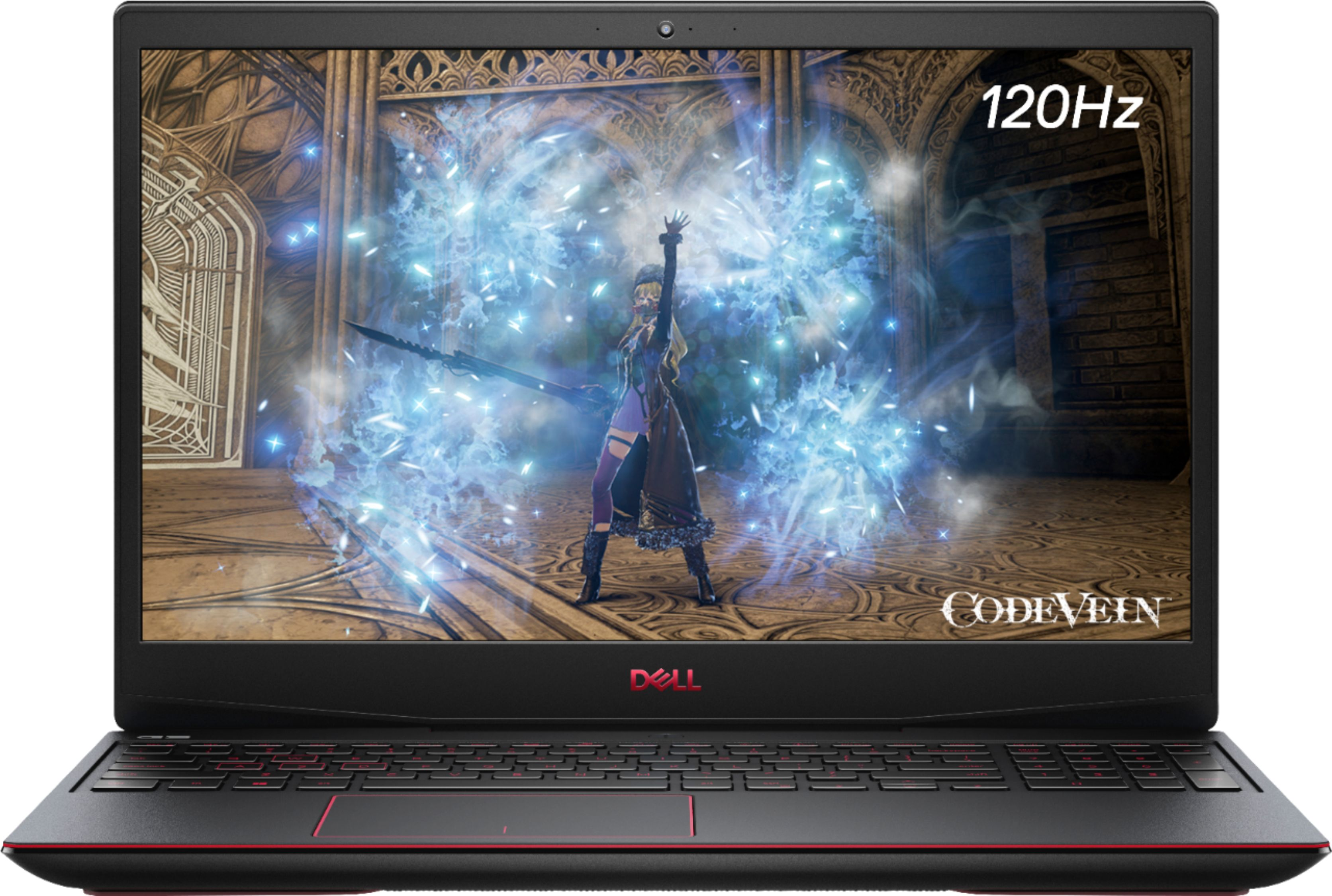 """Front Zoom. Dell - G3 15.6"""" Gaming Laptop - 120Hz -Intel Core i5- 8GB Memory - NVIDIA GeForce GTX 1650 Ti  - 512GB SSD - red print keyboard - Black."""