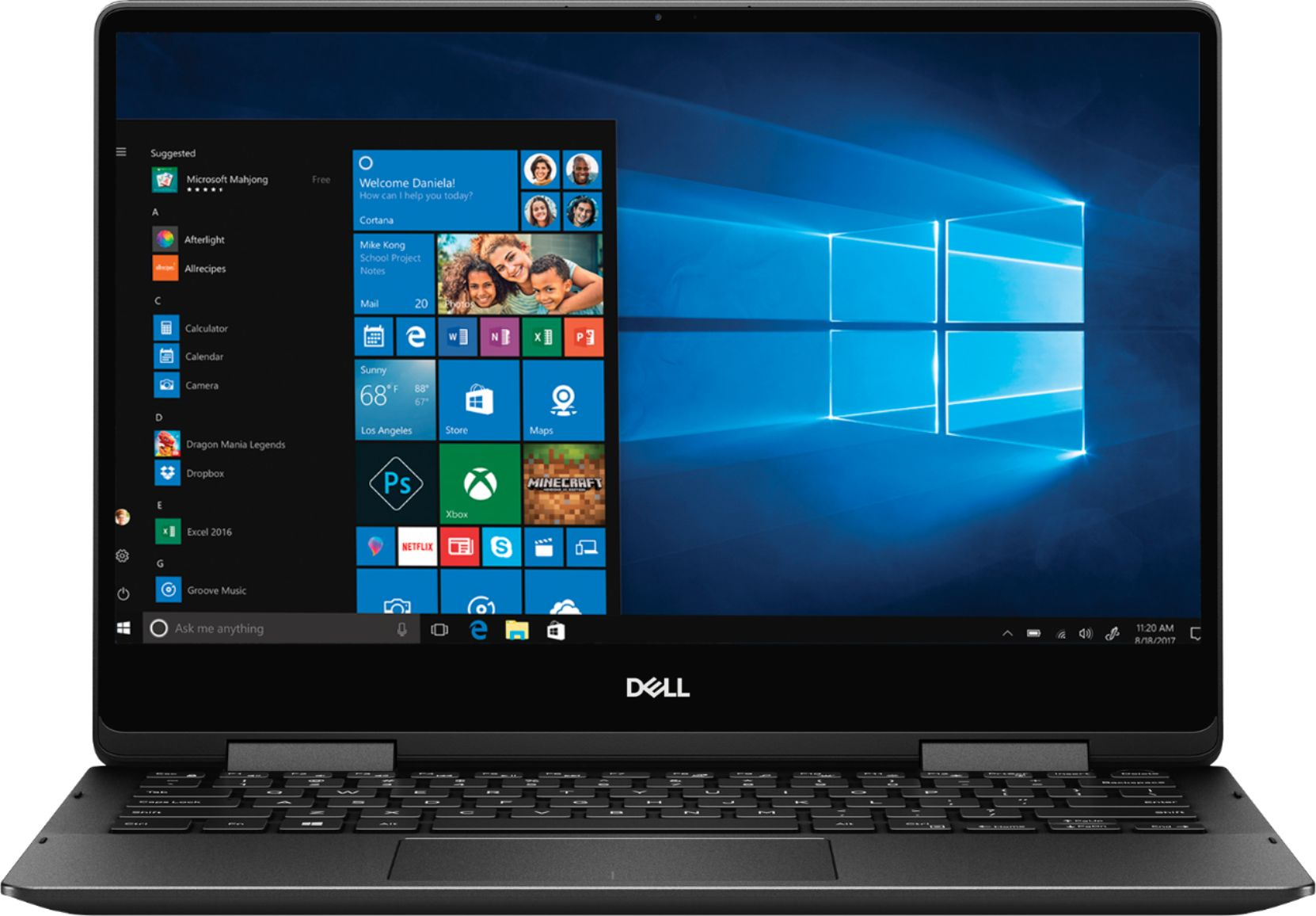 """Front Zoom. Dell - Geek Squad Certified Refurbished Inspiron 13.3"""" 4K Ultra HD Touch-Screen Laptop - Intel Core i7 - 16GB Memory- 256GB SSD - Black."""