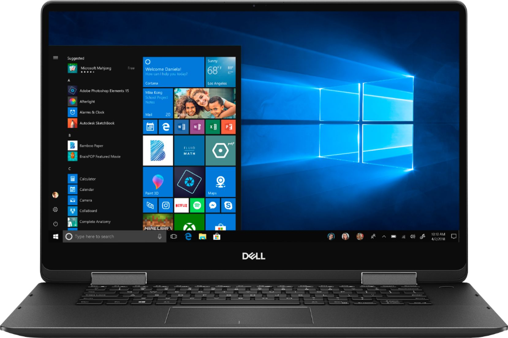 """Front Zoom. Dell - Geek Squad Certified Refurbished Inspiron 15.6"""" 4K Ultra HD Touch-Screen Laptop - Intel Core i7 - 16GB Memory- 512GB SSD - Black."""