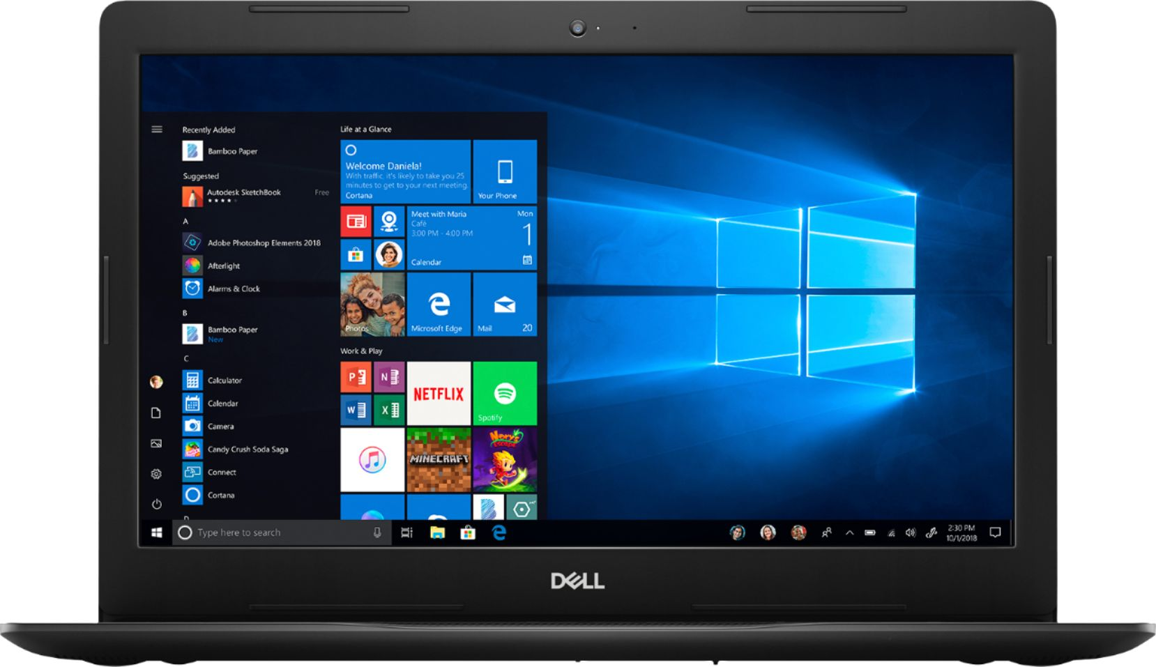 """Front Zoom. Dell - Inspiron 15.6"""" Touch-Screen Laptop - Intel Core i3 - 8GB Memory - 128GB SSD - Black."""