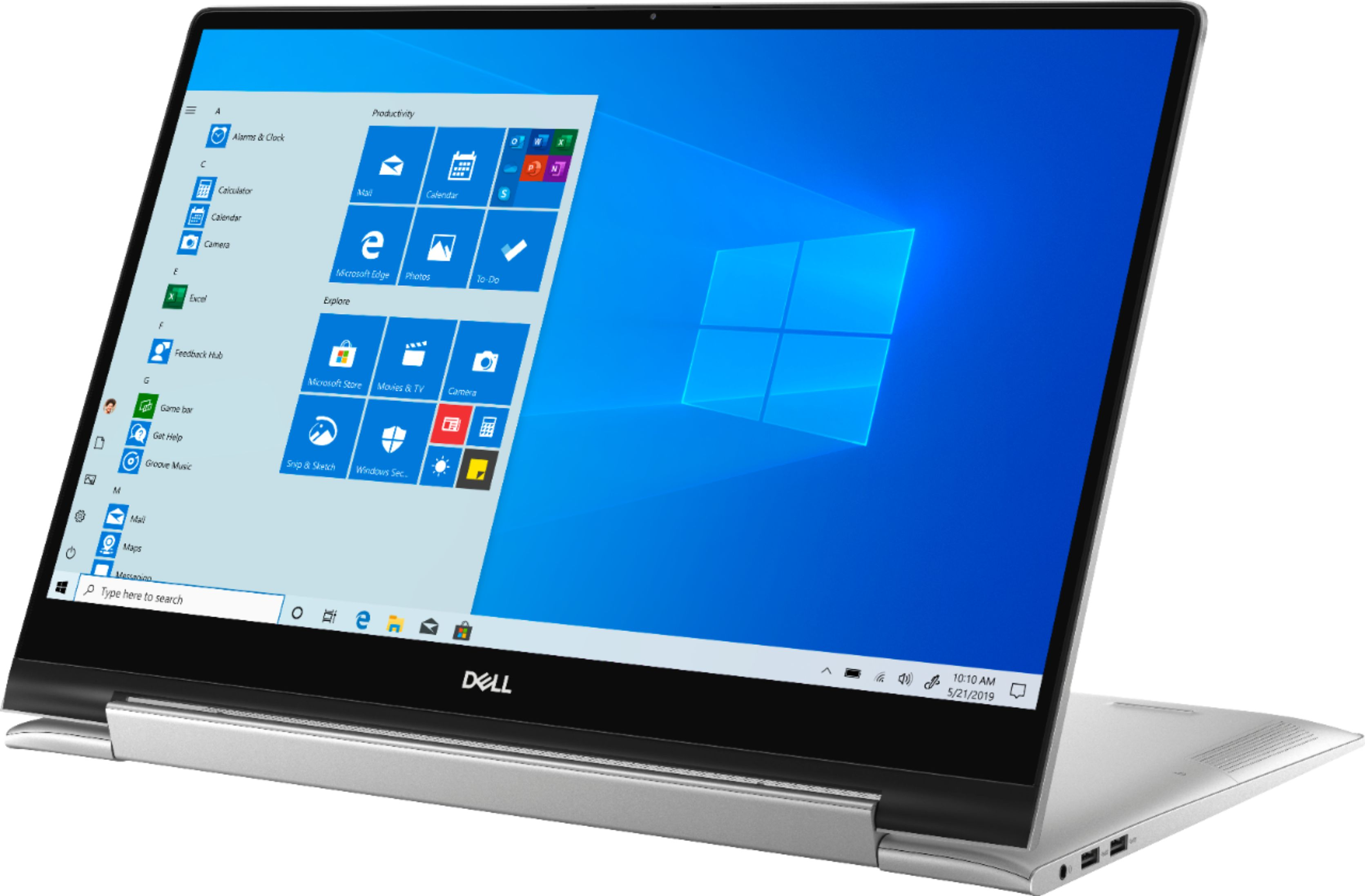 """Front Zoom. Dell - Inspiron 17.3"""" 7000 2-in-1 Touch-Screen Laptop - Intel Core i7 - 16GB Memory - GeForce MX250 - 512GB SSD + 32GB Optane - Silver."""