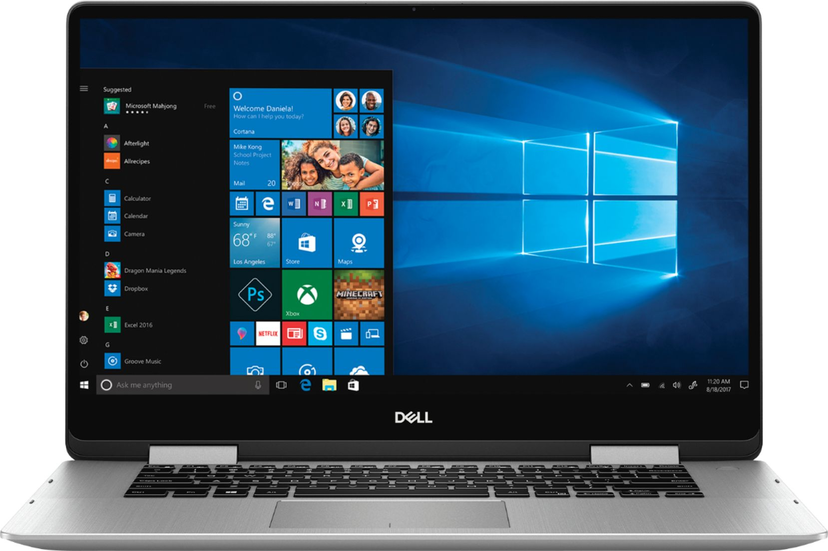 "Front Zoom. Dell - Inspiron 2-in-1 15.6"" Geek Squad Certified Refurbished Touch-Screen Laptop - Intel Core i5 - 8GB Memory - 256GB SSD - Silver."