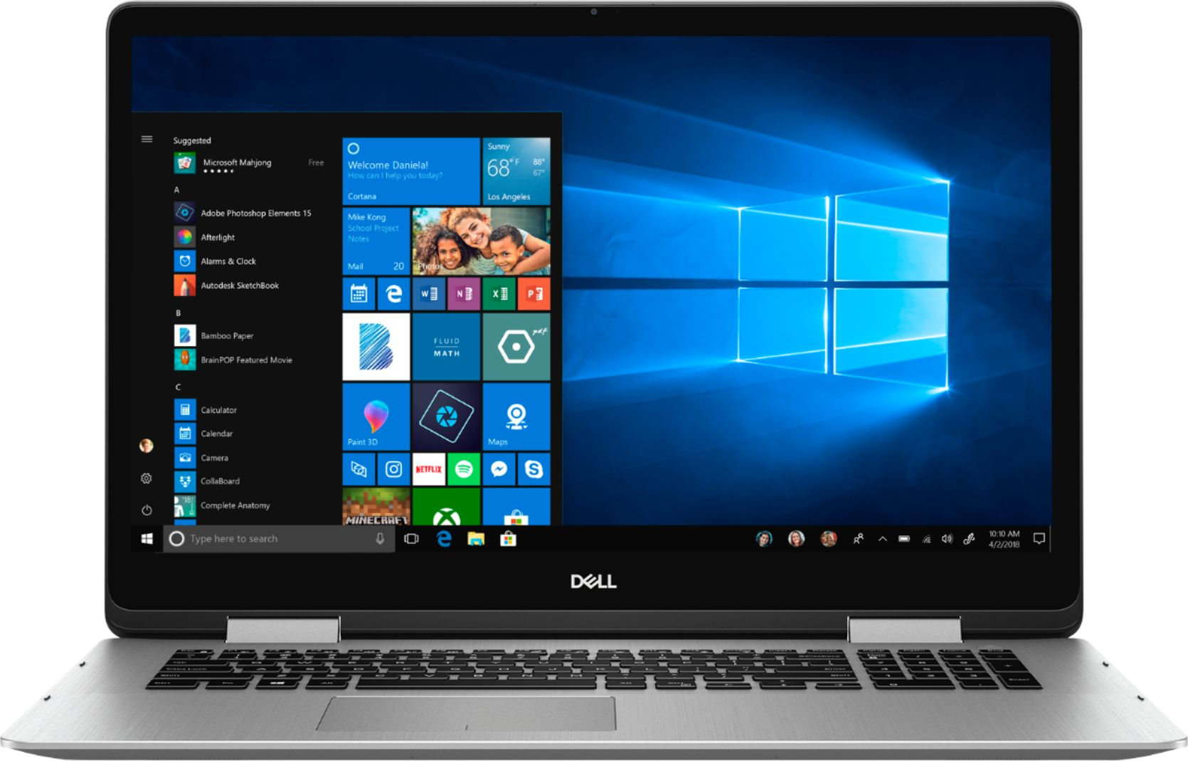 """Front Zoom. Dell - Inspiron 2-in-1 17.3"""" Geek Squad Certified Refurbished Touch-Screen Laptop - Intel Core i7 - 16GB Memory - 512GB SSD - Silver."""