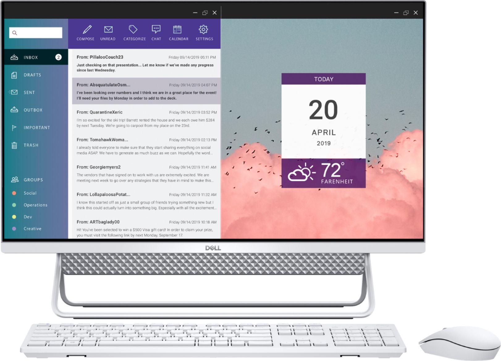 """Front Zoom. Dell - Inspiron 27"""" Touch screen All-In-One - Intel Core i7 - 16GB Memory - 512GBSSD +1TB HDD - NVIDIA GeForce MX110 - Silver."""