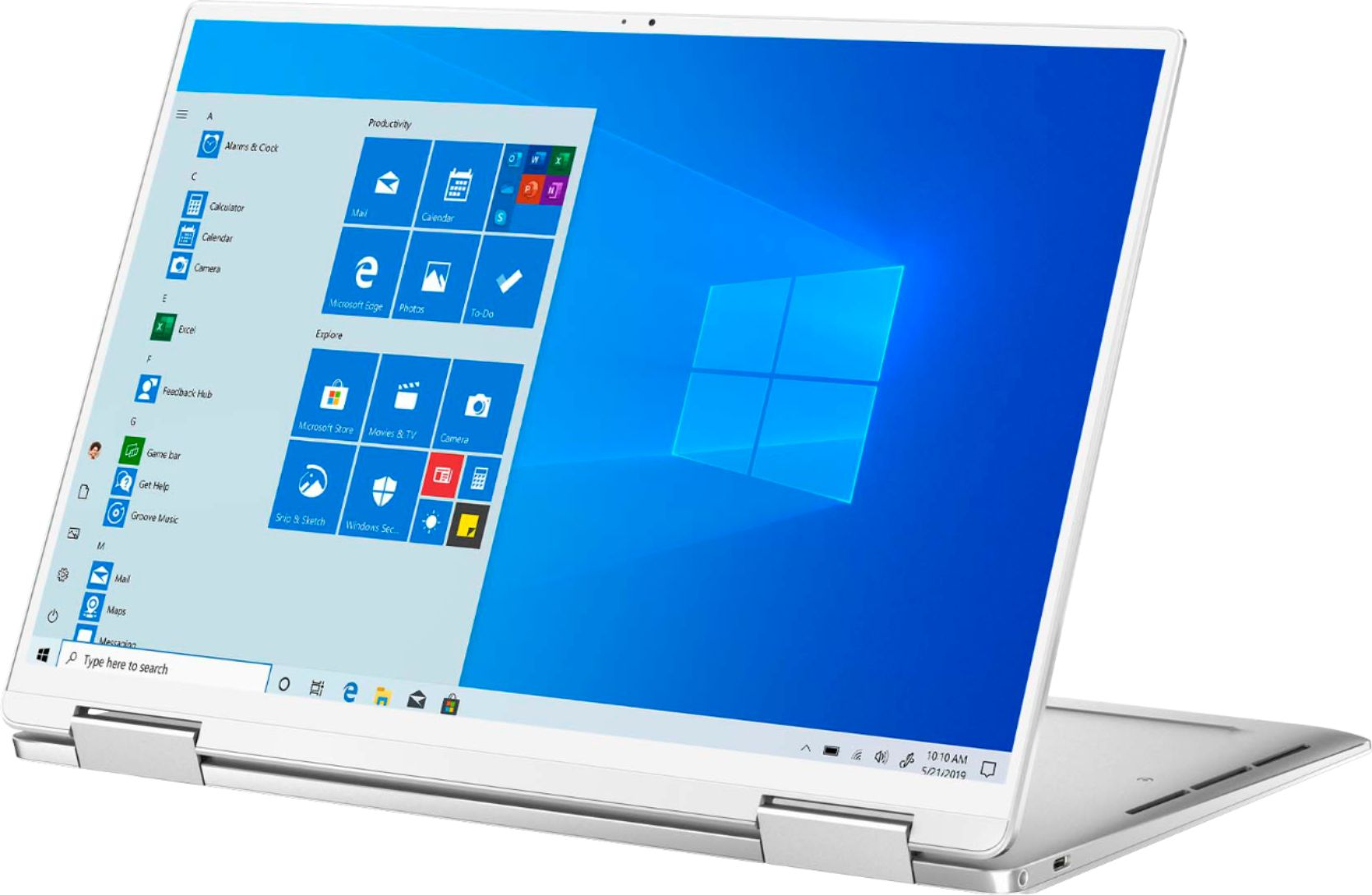 """Front Zoom. Dell - XPS  13.4"""" 2-in-1 Touch FHD+ Laptop - Intel Core i7-  8GB RAM- 256GB SSD - Platinum Silver, Arctic White interior."""