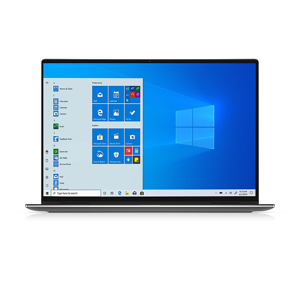 """Front Zoom. Dell - XPS 13.4"""" 2-in-1 Touch FHD+ Laptop - Intel Core i7- 16GB Memory - 256GB Solid State Drive - Platinum Silver, Black interior."""