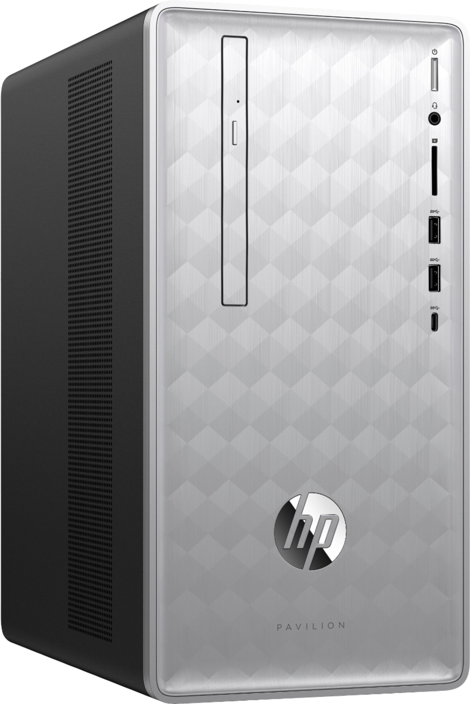 Angle Zoom. Geek Squad Certified Refurbished Pavilion Desktop - Intel Core i3 - 8GB Memory - 1TB HDD + 128GB SSD - HP Finish In Natural Silver.