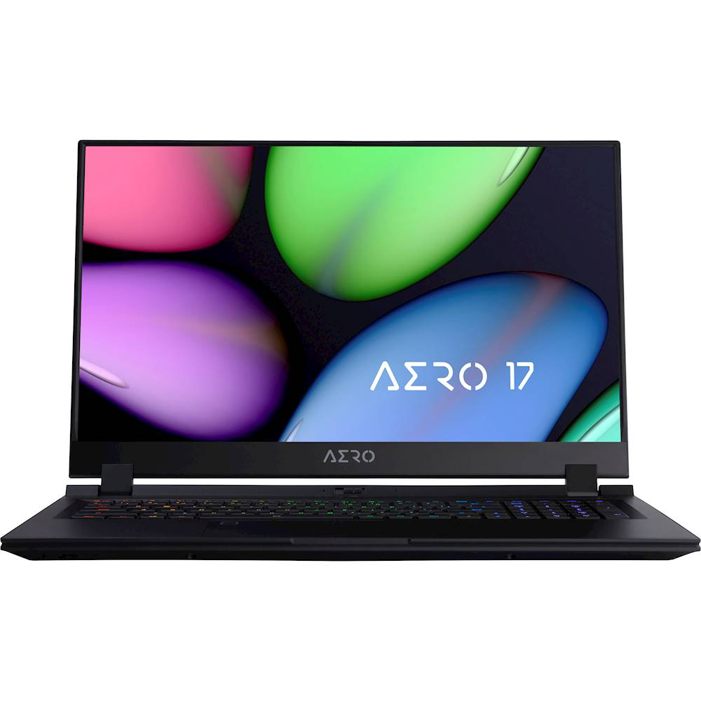 "Front Zoom. Gigabyte - AERO 17 17.3""FHD Laptop - Intel Core i7-10750H - 32GB - NVIDIA GeForce RTX 2080 With Super MAX Q - 512GB SSD - Black."