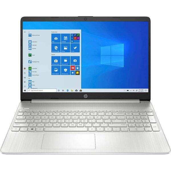 """Front Zoom. HP - 15.6"""" Touch-Screen Laptop - AMD Ryzen 3 - 8GB Memory - 256GB SSD - Vertical Brushed Pattern, Natural Silver."""