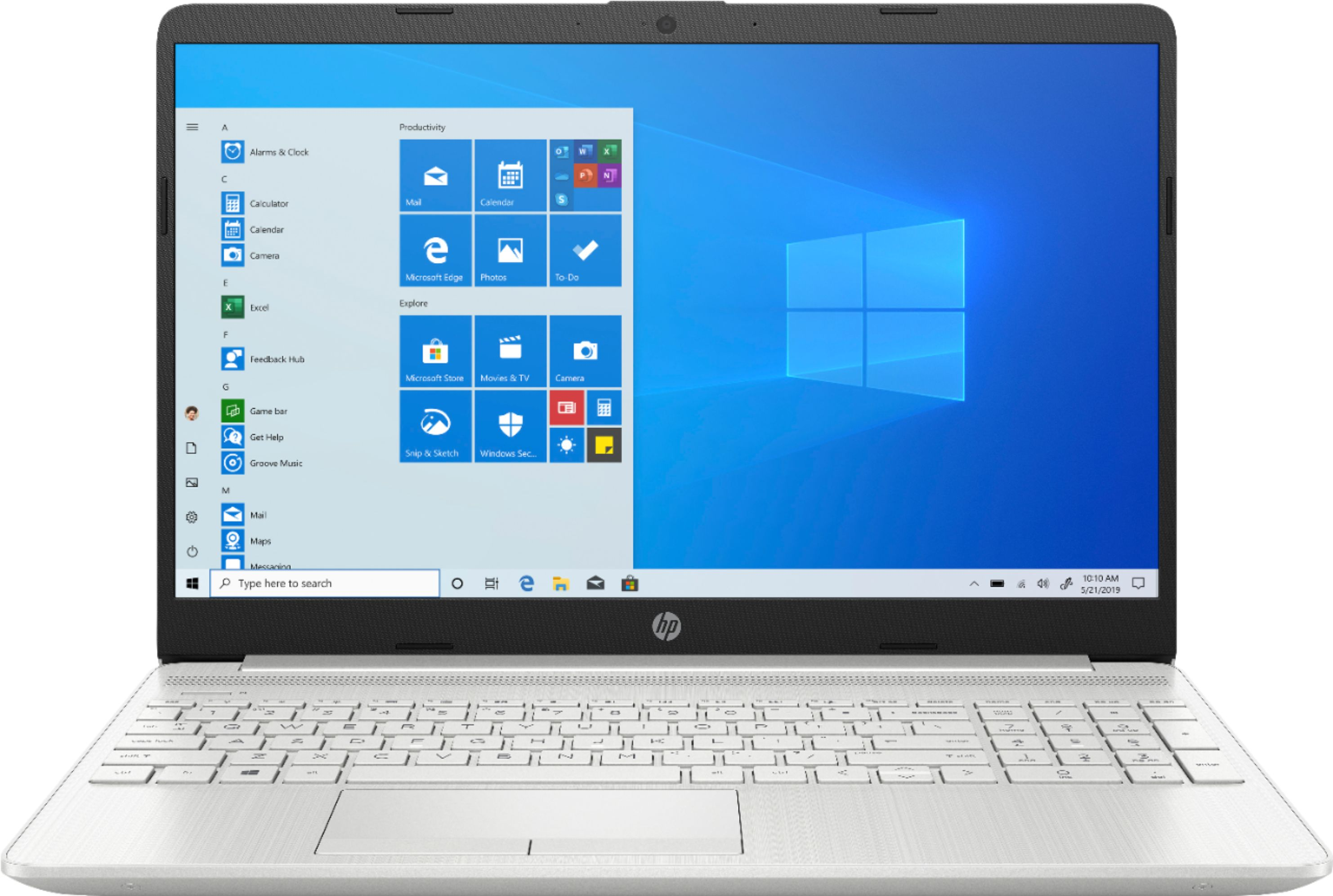 """Front Zoom. HP - 15.6"""" Touch-Screen Laptop - AMD Ryzen 5 - 12GB Memory - 1TB HDD + 128GB SSD - Natural Silver."""