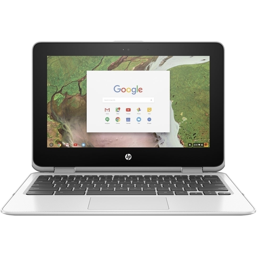 """Front Zoom. HP - 2-in-1 11.6"""" Touch-Screen Chromebook - Intel Celeron - 4GB Memory - 32GB eMMC Flash Memory - Snow White."""
