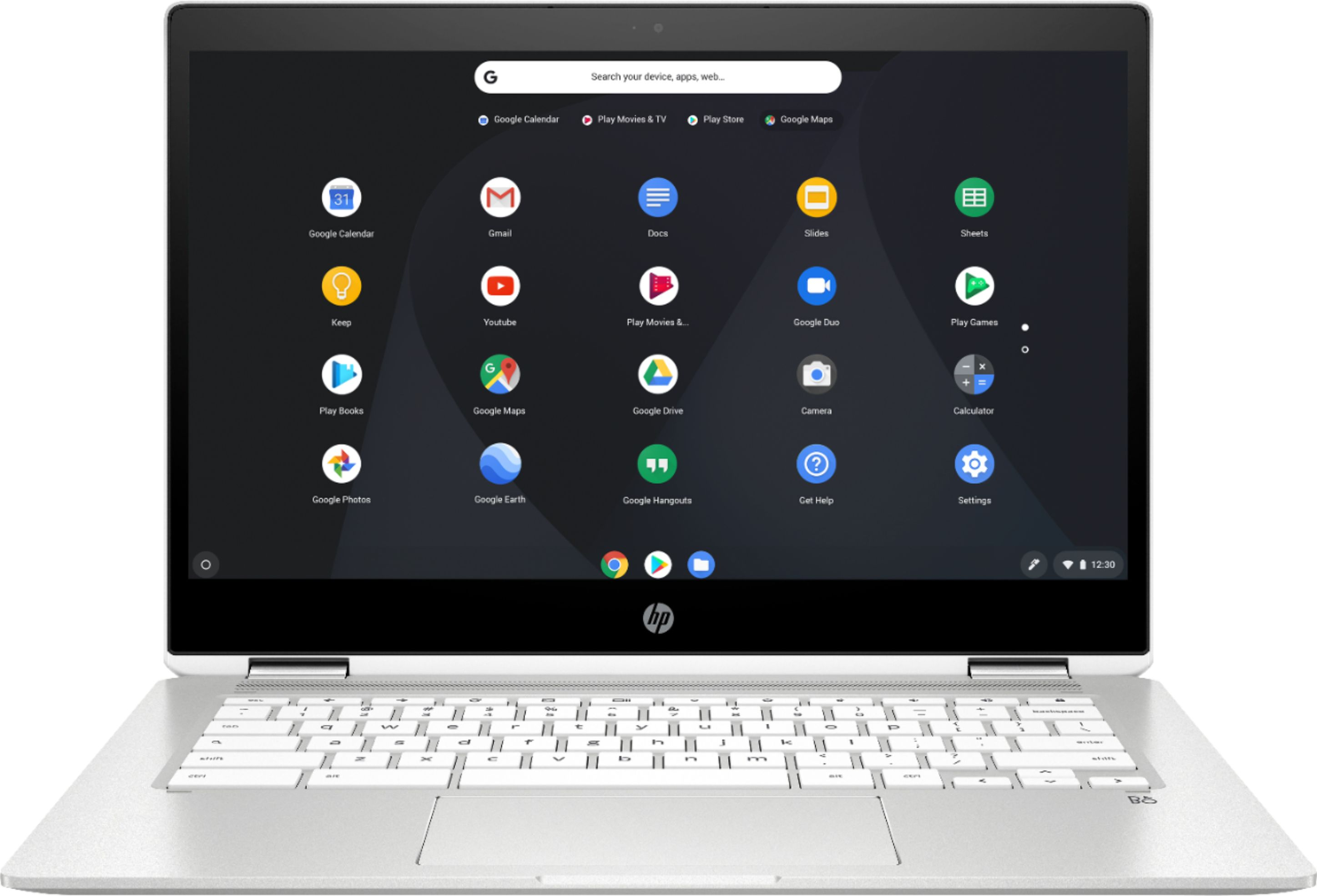 """Front Zoom. HP - 2-in-1 14"""" Touch-Screen Chromebook - Intel Celeron - 4GB Memory - 32GB eMMC Flash Memory - Ceramic White."""