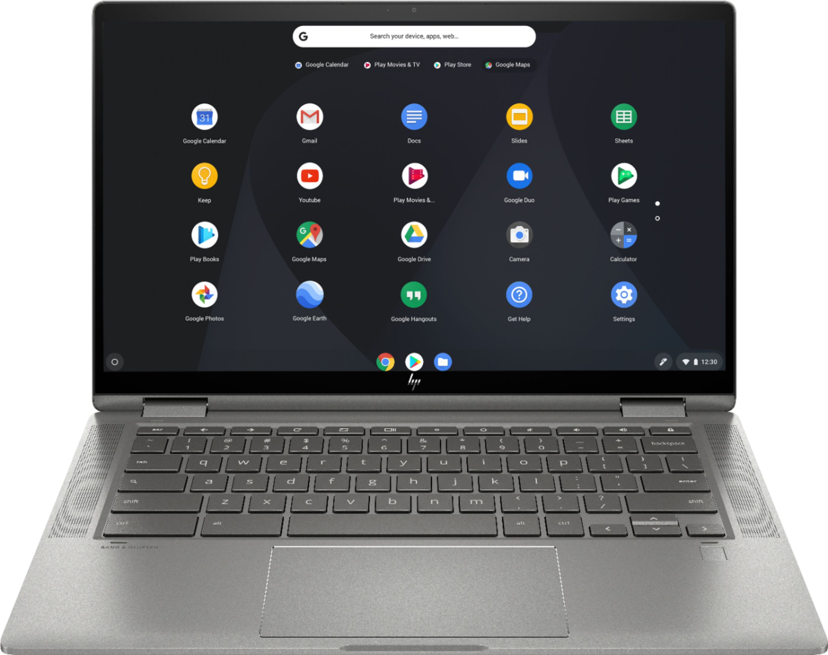 """Front Zoom. HP - 2-in-1 14"""" Touch-Screen Chromebook - Intel Core i3 - 8GB Memory - 64GB eMMC Flash Memory - Mineral Silver."""