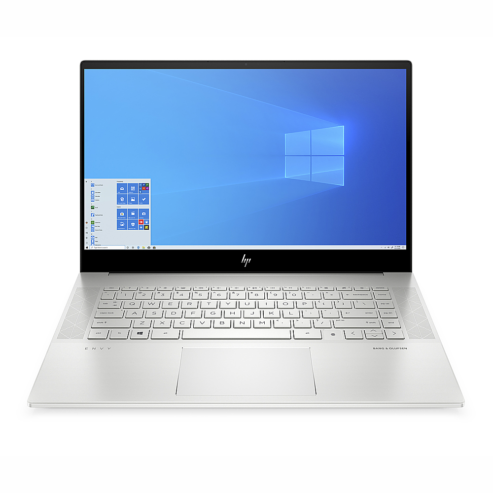 "Front Zoom. HP ENVY 15.6"" Touch Laptop Intel Core i7-10750H 16GB RAM 512GB SSD NVIDIA GeForce GTX 1650 Ti 4 GB GDDR6 Win10 Silver."