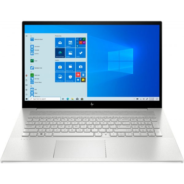 """Front Zoom. HP - ENVY 17.3"""" Touch-Screen Laptop - Intel Core i7 - 12GB Memory - 512GB SSD + 32GB Optane - Natural Silver."""