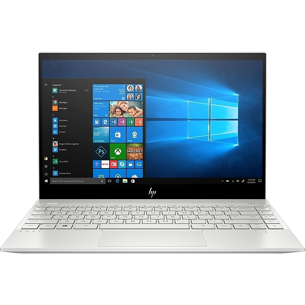"""Front Zoom. HP - Envy 13.3"""" Touch-Screen Laptop - Intel Core i7 - 8GB Memory - 512GB SSD - Natural Silver, Sandblasted Anodized Finish."""