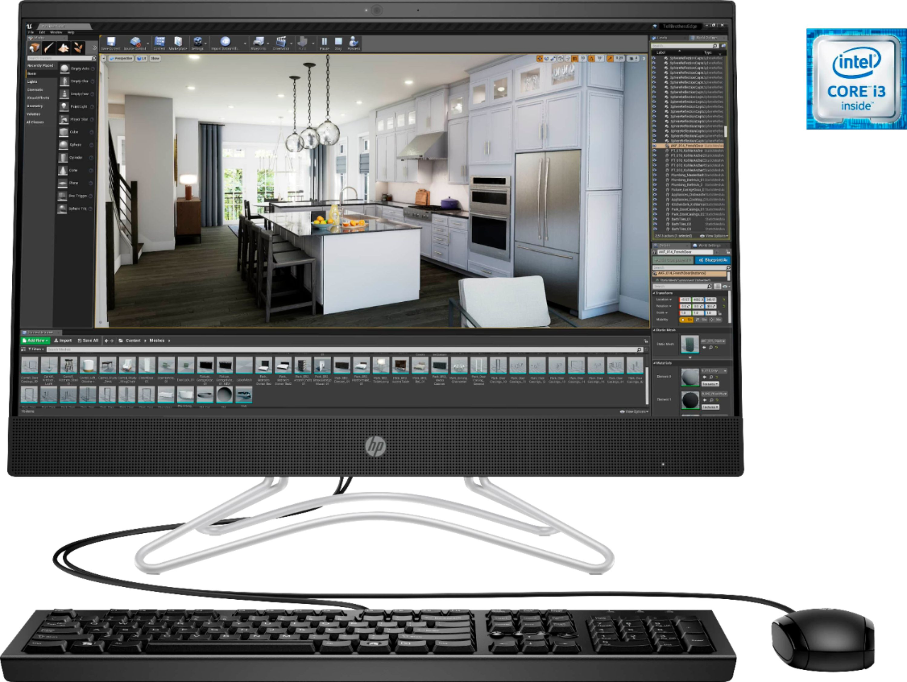 """Front Zoom. HP - Geek Squad Certified Refurbished 23.8"""" Touch-Screen All-In-One - Intel Core i3 - 8GB Memory - 256GB Solid State Drive - Jet Black."""