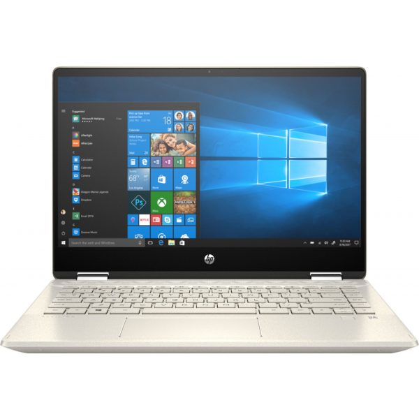 """Front Zoom. HP - Geek Squad Certified Refurbished Pavilion x360 2-in-1 14"""" Touch-Screen Laptop - Intel Core i5 - 8GB Memory - 128GB SSD - Anodized Finish In Warm Gold And Luminous Gold."""