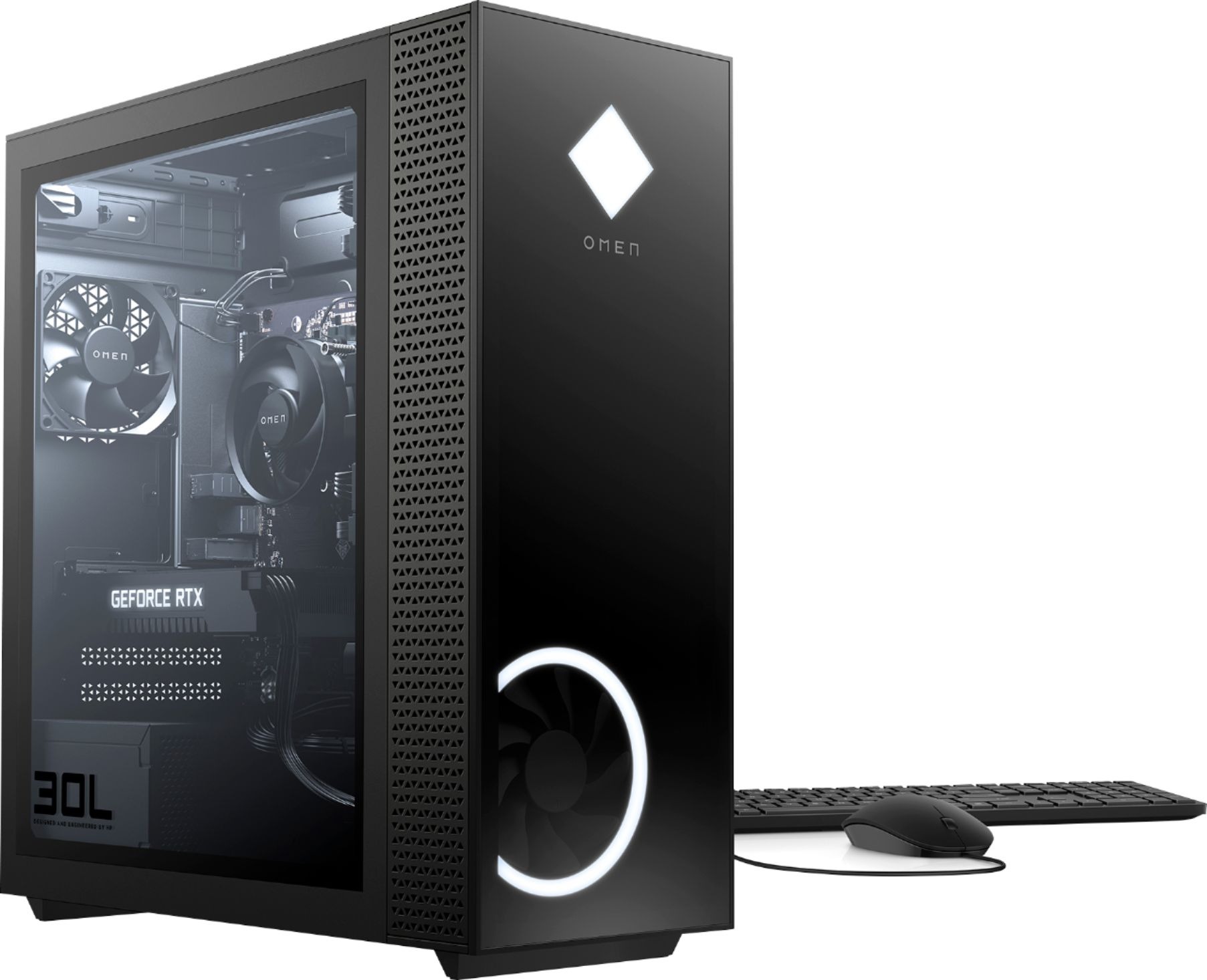 Angle Zoom. HP OMEN - 30L Gaming Desktop - AMD Ryzen 7-Series - 3700X - 16GB Memory - NVIDIA GeForce RTX 2060 - 1TB HDD + 256GB SSD - Black.
