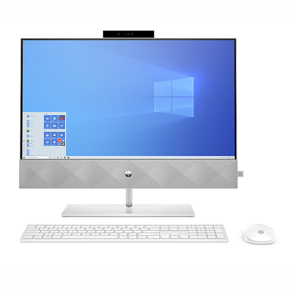 "Front Zoom. HP Pavilion 23.8 "" Touch-Screen All-in-One Intel Core  i7-10700T  16GB Memory 512GB SSD 1TB HDD - Snowflake white."