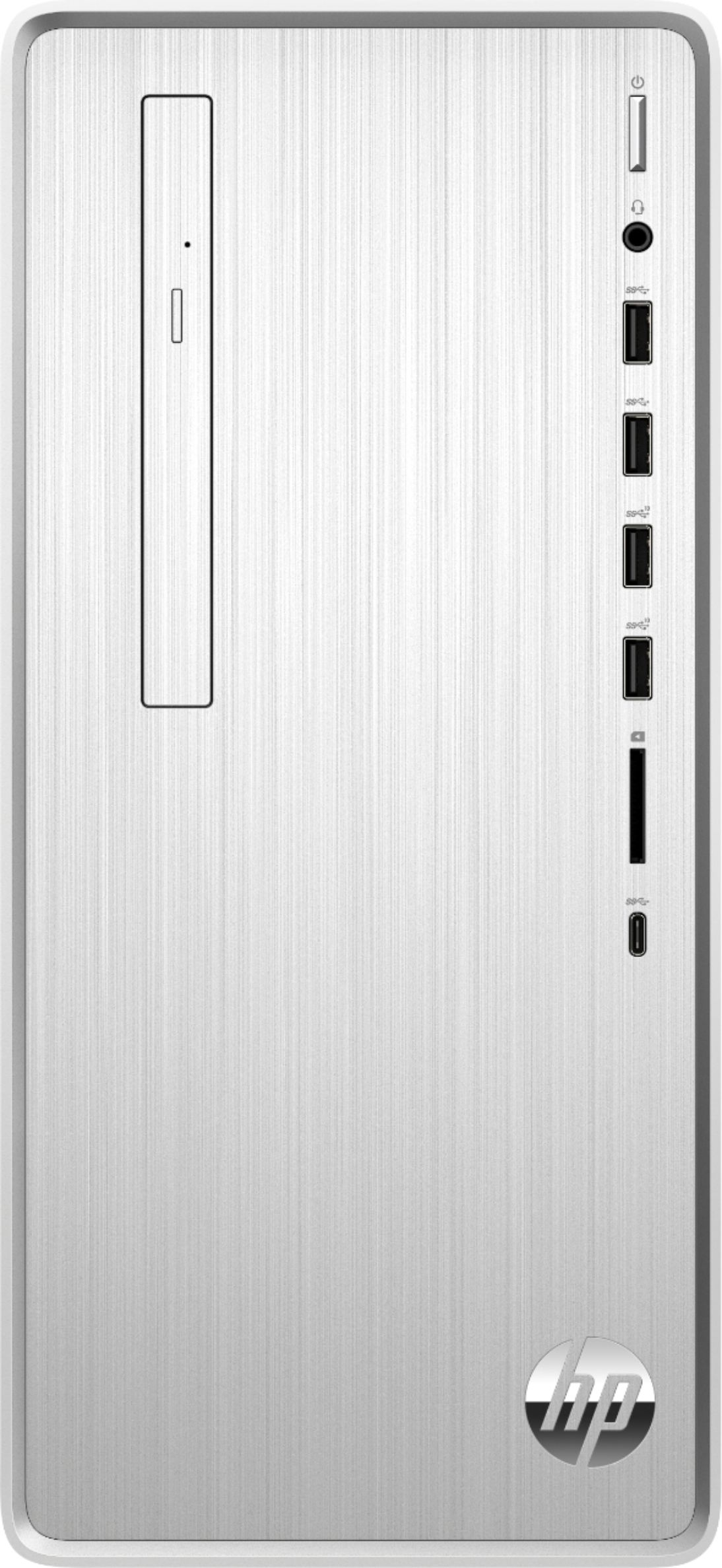 Front Zoom. HP - Pavilion Desktop - Intel Core i3 - 8GB Memory - 256GB Solid State Drive - Natural Silver.