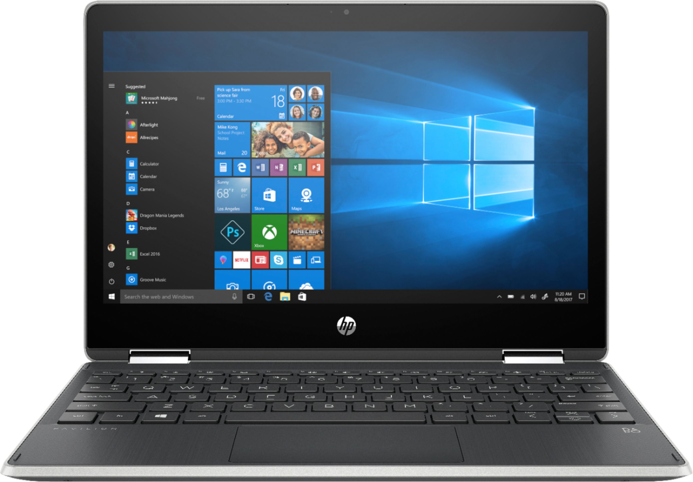 """Front Zoom. HP - Pavilion x360 2-in-1 11.6"""" Touch-Screen Laptop - Intel Pentium - 4GB Memory - 128GB Solid State Drive - Ash Silver."""