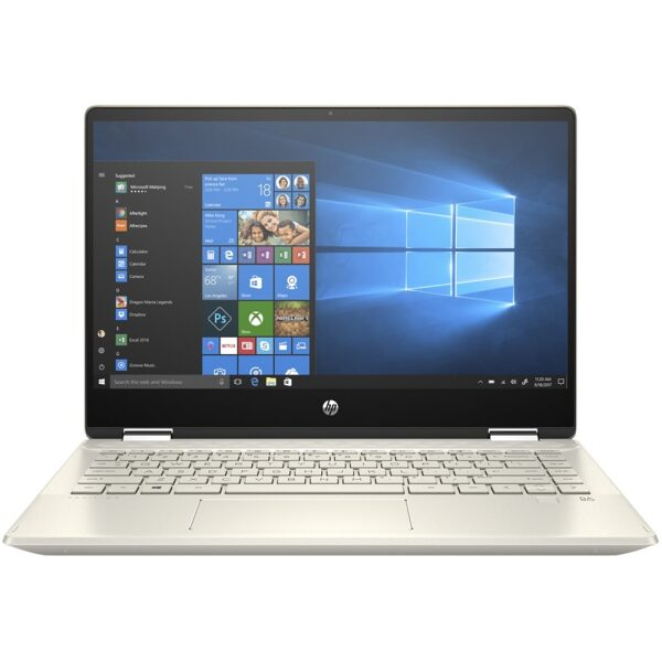 """Front Zoom. HP - Pavilion x360 2-in-1 14"""" Touch-Screen Laptop - Intel Core i5 - 8GB Memory - 256GB SSD - Sandblasted Anodized Finish, Luminous Gold."""