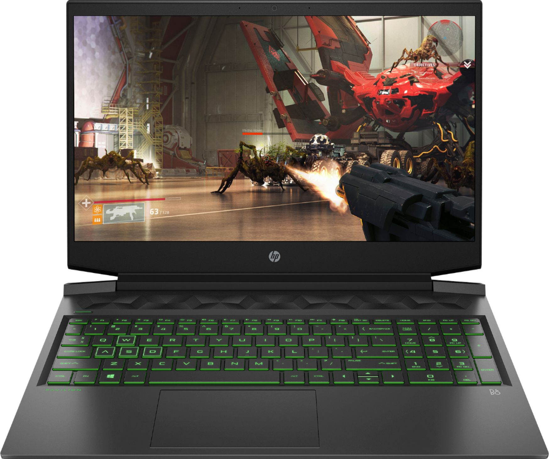 "Front Zoom. HP - Pavillion 16.1"" Gaming Laptop - Intel Core i5 - 8GB Memory - NVIDIA GeForce GTX 1660 Ti - 512GB SSD + 32GB Optane - Shadow Black."