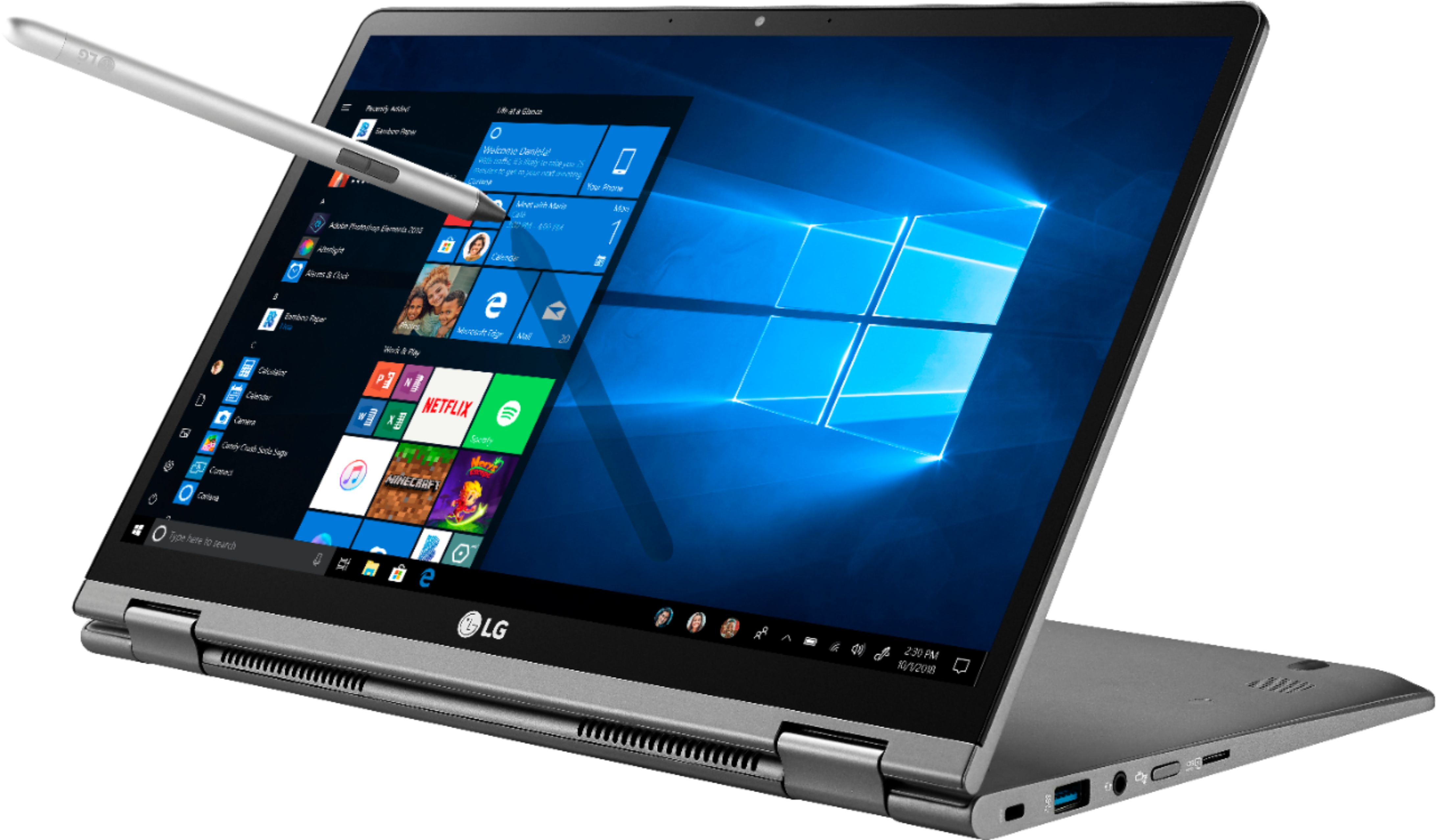 """Front Zoom. LG - Gram 2-in-1 14"""" Touch-Screen Laptop - Intel Core i7 - 16GB Memory - 1TB SSD - Dark Silver."""