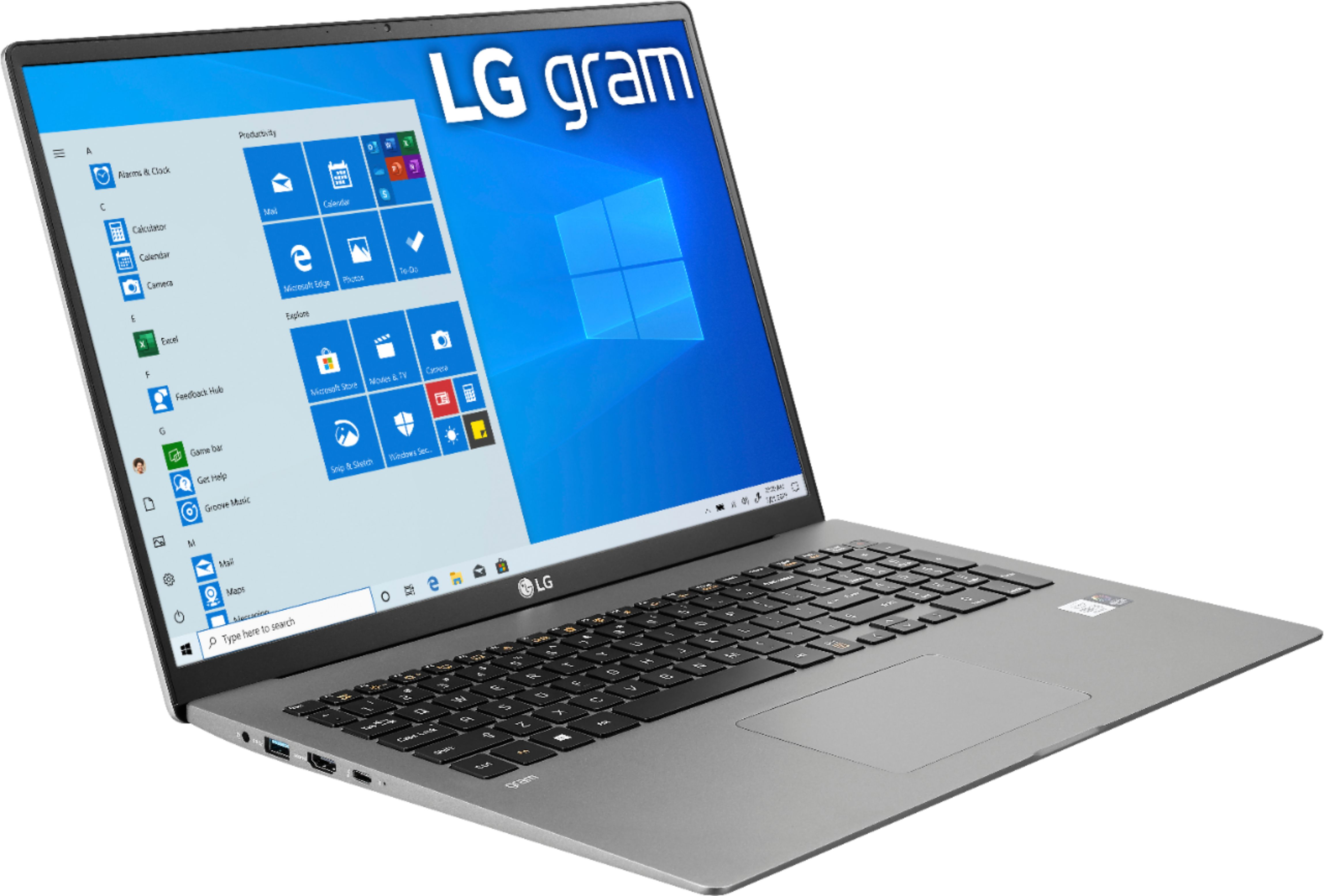 "Angle Zoom. LG - gram 17"" Laptop – 11th Gen Intel Core i7 - 16GB Memory - 2TB SSD - Silver."