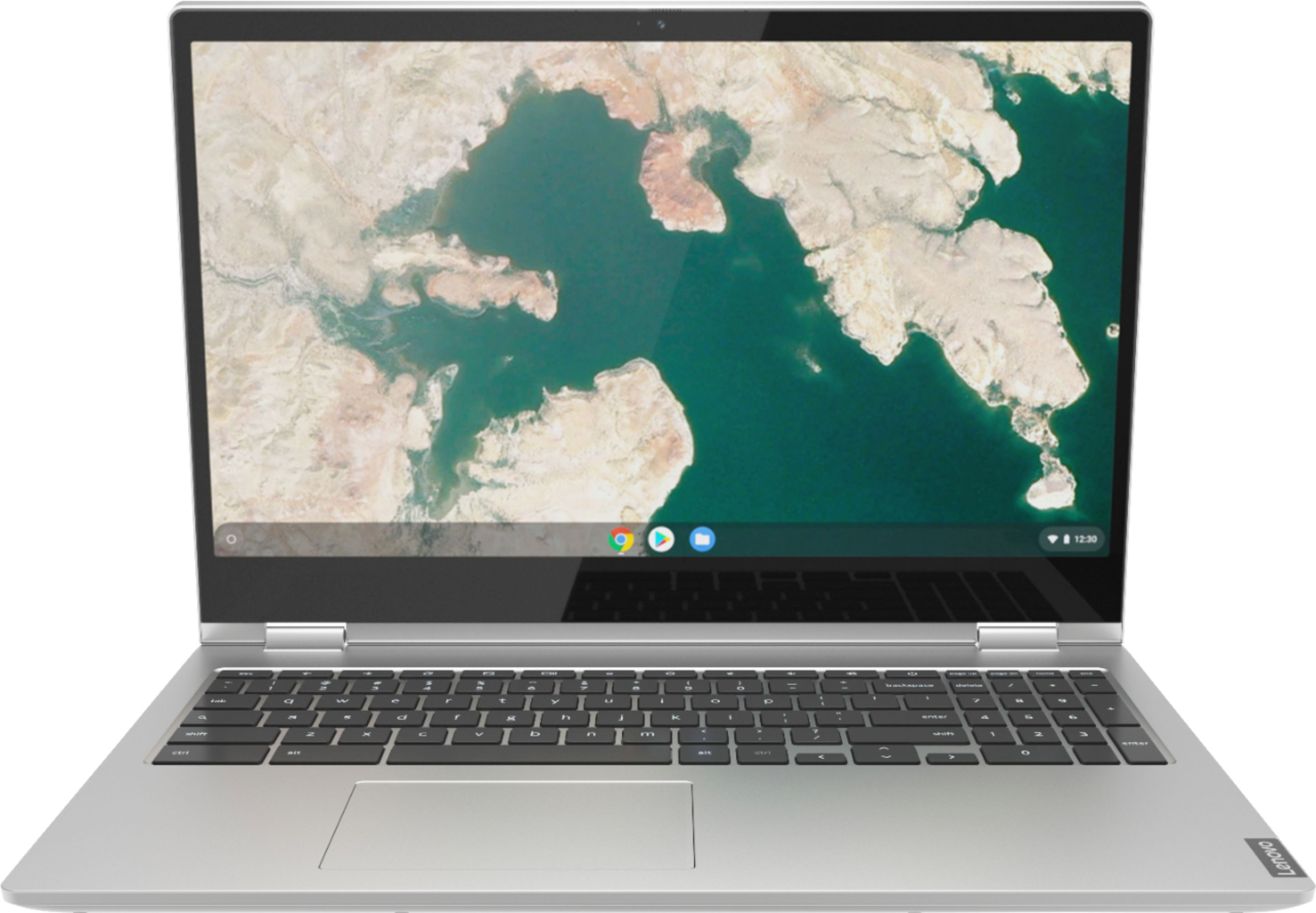 """Front Zoom. Lenovo - C340-15 2-in-1 15.6"""" Touch-Screen Chromebook - Intel Pentium Gold - 4GB Memory - 64GB eMMC Flash Memory - Mineral Gray."""