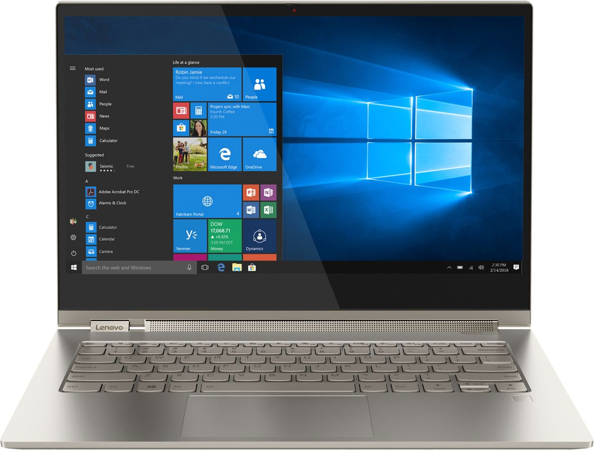 "Front Zoom. Lenovo - Geek Squad Certified Refurbished Yoga C930 2-in-1 13.9"" 4K Ultra HD Laptop - Intel Core i7 - 16GB Memory - 512GB SSD - Mica."