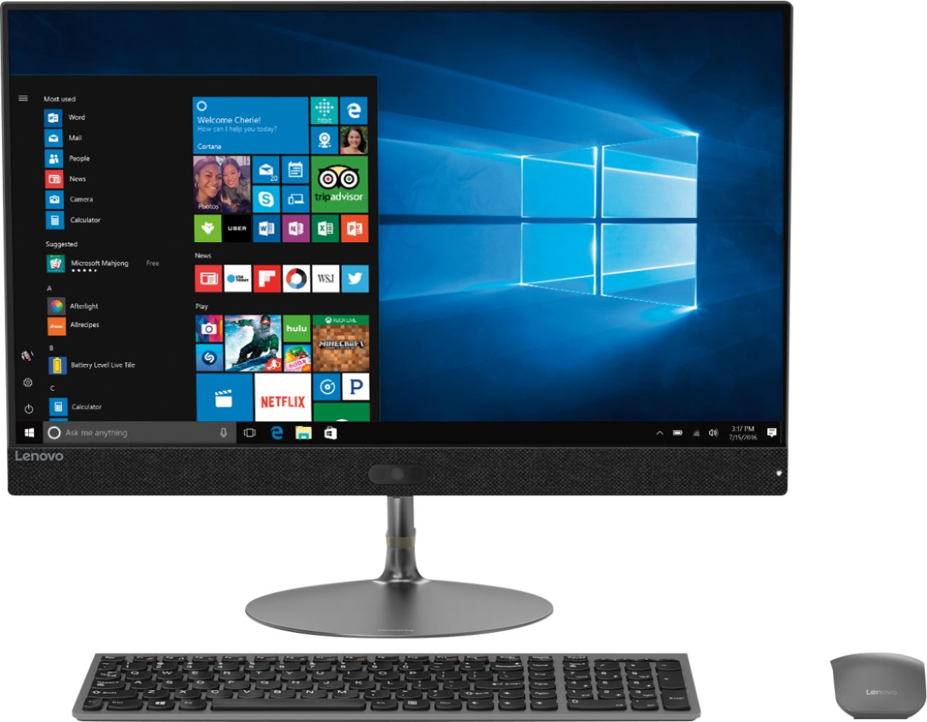 "Front Zoom. Lenovo - IdeaCentre 730S 23.8"" Touch-Screen All-In-One - Intel Core i7 - 8GB Memory - 256GB Solid State Drive - Iron Gray."