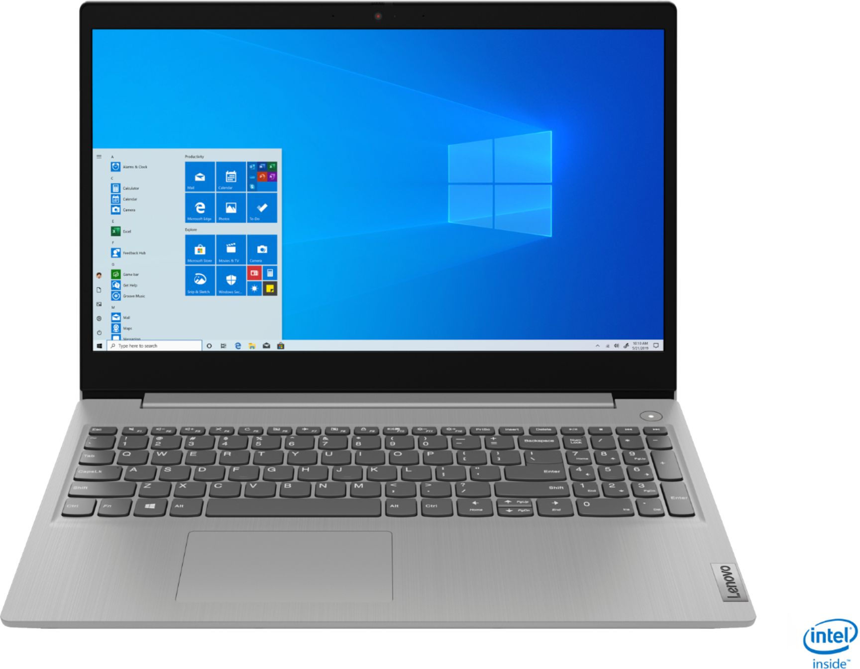 """Front Zoom. Lenovo - IdeaPad 3 15"""" Touch Screen Laptop - Intel Core i5-1035G1 - 12GB Memory - 256GB SSD - Platinum Grey."""