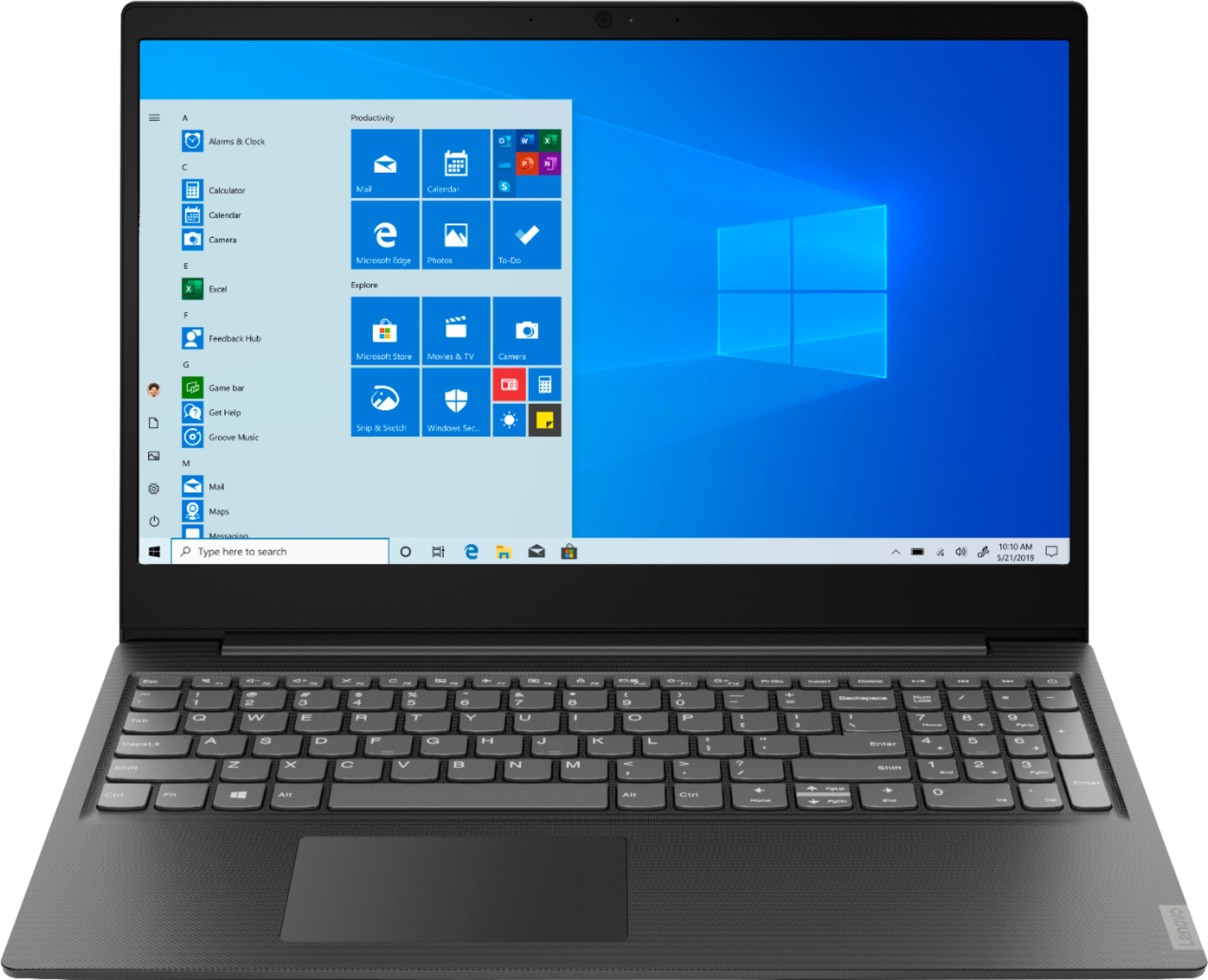 """Front Zoom. Lenovo - S145-15AST 15.6"""" Laptop - AMD A6-Series - 4GB Memory - 1TB Hard Drive - Black."""