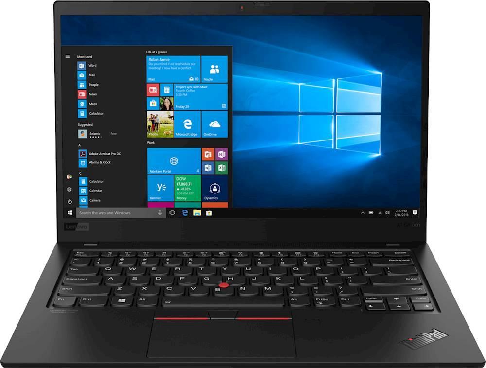 """Front Zoom. Lenovo - ThinkPad X1 Carbon 14"""" Touch-Screen Laptop - Intel Core i7 - 8GB Memory - 256GB Solid State Drive - Black."""