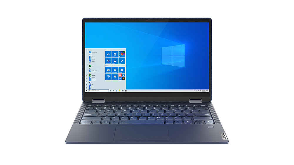"""Front Zoom. Lenovo Yoga 6 13 2-in-1 13.3"""" Touch Screen Laptop - AMD Ryzen 7 - 16GB Memory - 1024GB SSD - Abyss Blue Fabric Cover."""
