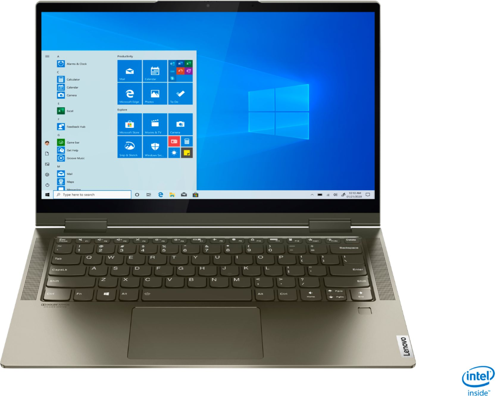 """Front Zoom. Lenovo - Yoga 7i 2-in-1 14"""" Touch Screen Laptop - Intel Evo Platform Core i5 - 12GB Memory - 512GB Solid State Drive - Dark Moss."""