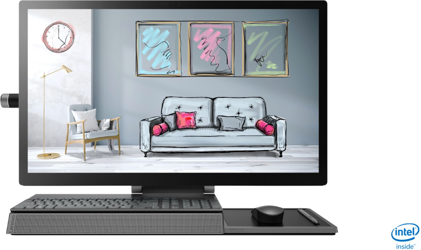 """Front Zoom. Lenovo - Yoga A940 27"""" Touch-Screen All-In-One - Intel Core i7 - 16GB Memory - 1TB Hard Drive + 256GB Solid State Drive - Grey."""