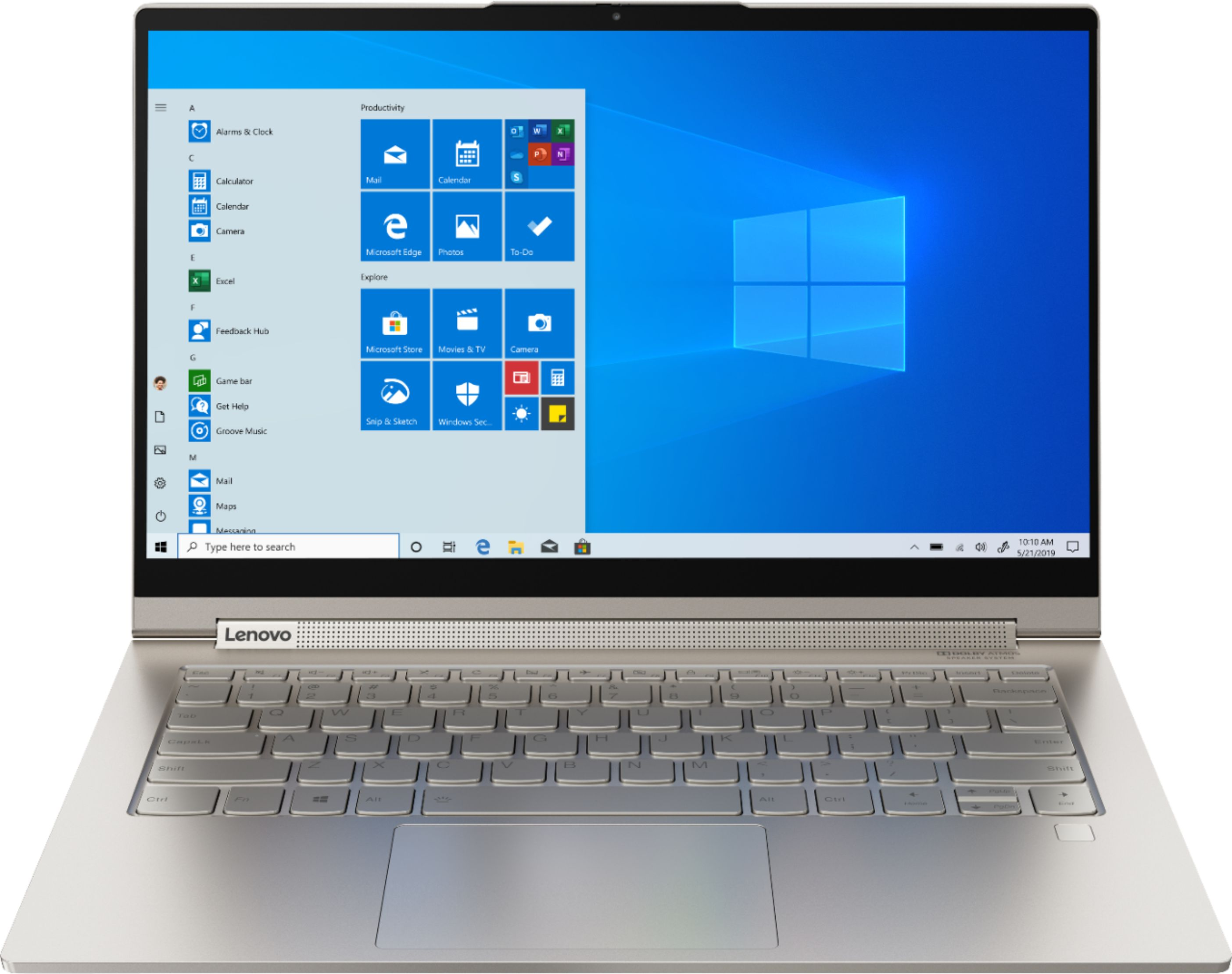 """Front Zoom. Lenovo - Yoga C940 2-in-1 14"""" 4K Ultra HD Touch-Screen Laptop - Intel Core i7 - 16GB Memory - 512GB SSD + 32GB Optane - Mica."""