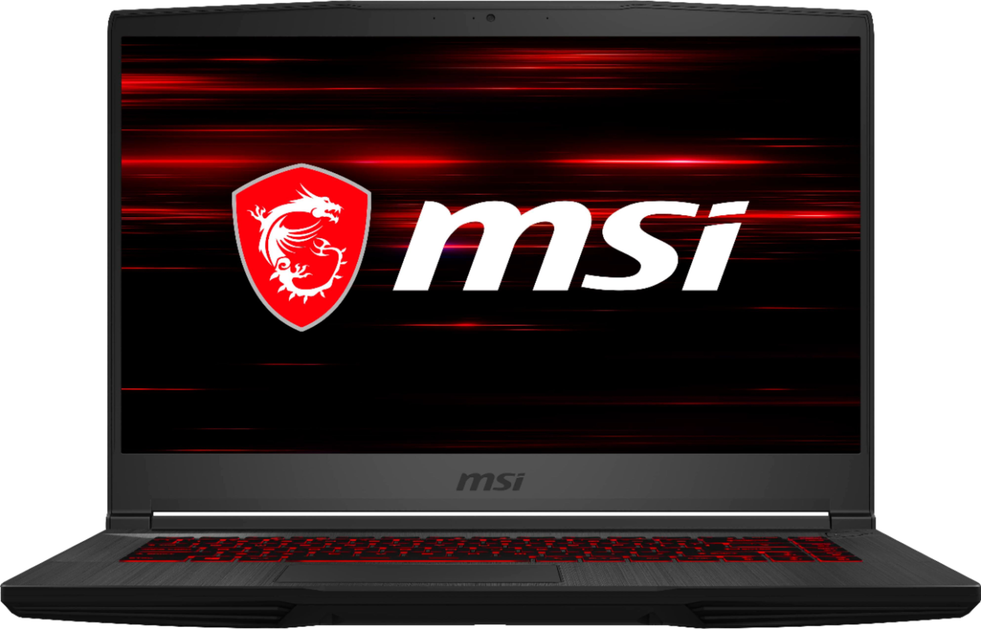 "Front Zoom. MSI - GF65 15.6"" Gaming Laptop - Intel Core i7 - 8GB Memory - NVIDIA GeForce RTX 2060 - 512GBSolid State Drive - Black."