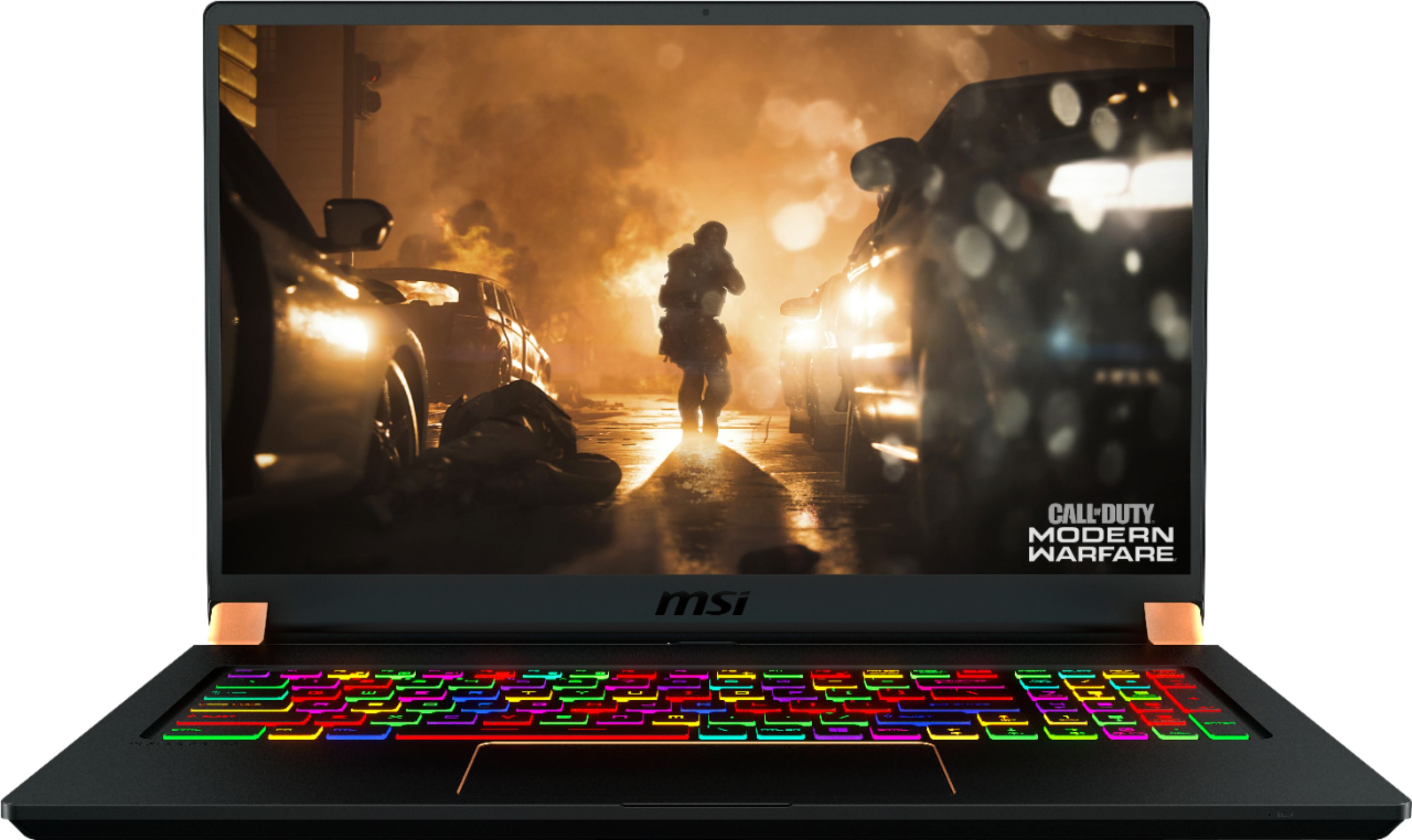 """Front Zoom. MSI - GS Series 17.3"""" Gaming Laptop - Intel Core i7 - 32GB - NVIDIA GeForce RTX 2080 Max-Q - 1TB Solid-State Drive - Matte Black With Gold Diamond Cut."""