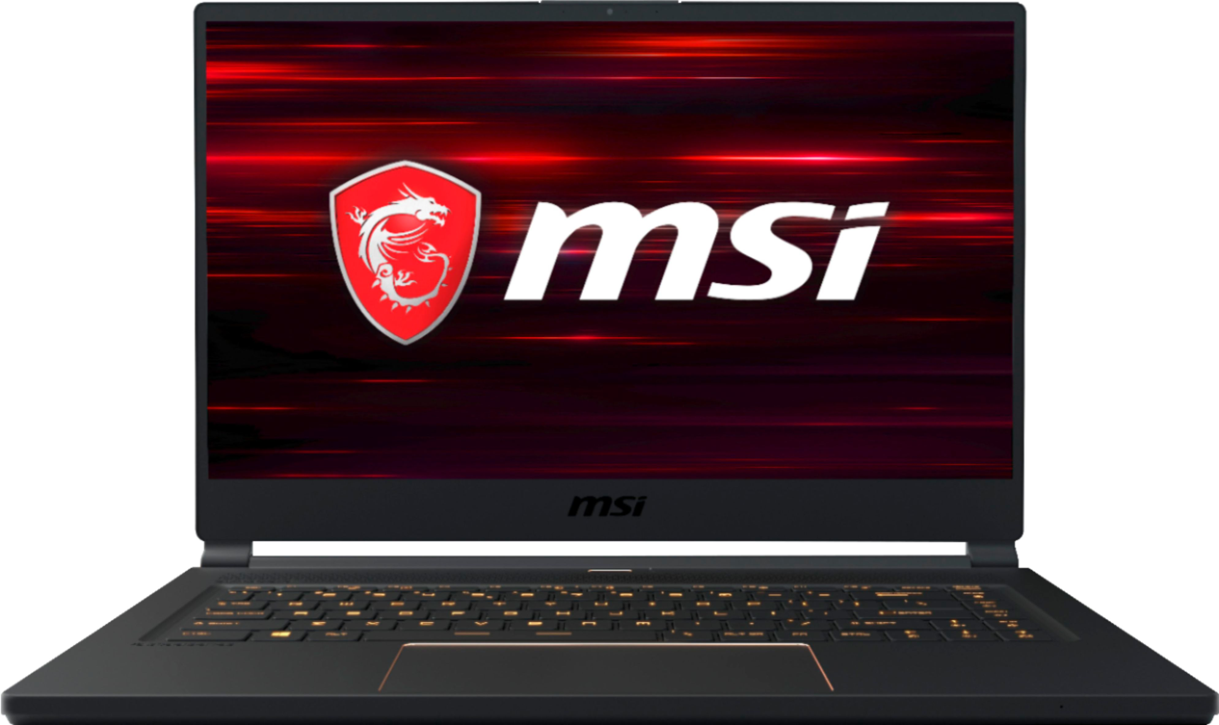 """Front Zoom. MSI - Geek Squad Certified Refurbished 15.6"""" Gaming Laptop - Intel Core i7 - 16GB Memory - NVIDIA GeForce RTX 2060 - 512GB SSD - Matte Black With Gold Diamond Cut."""