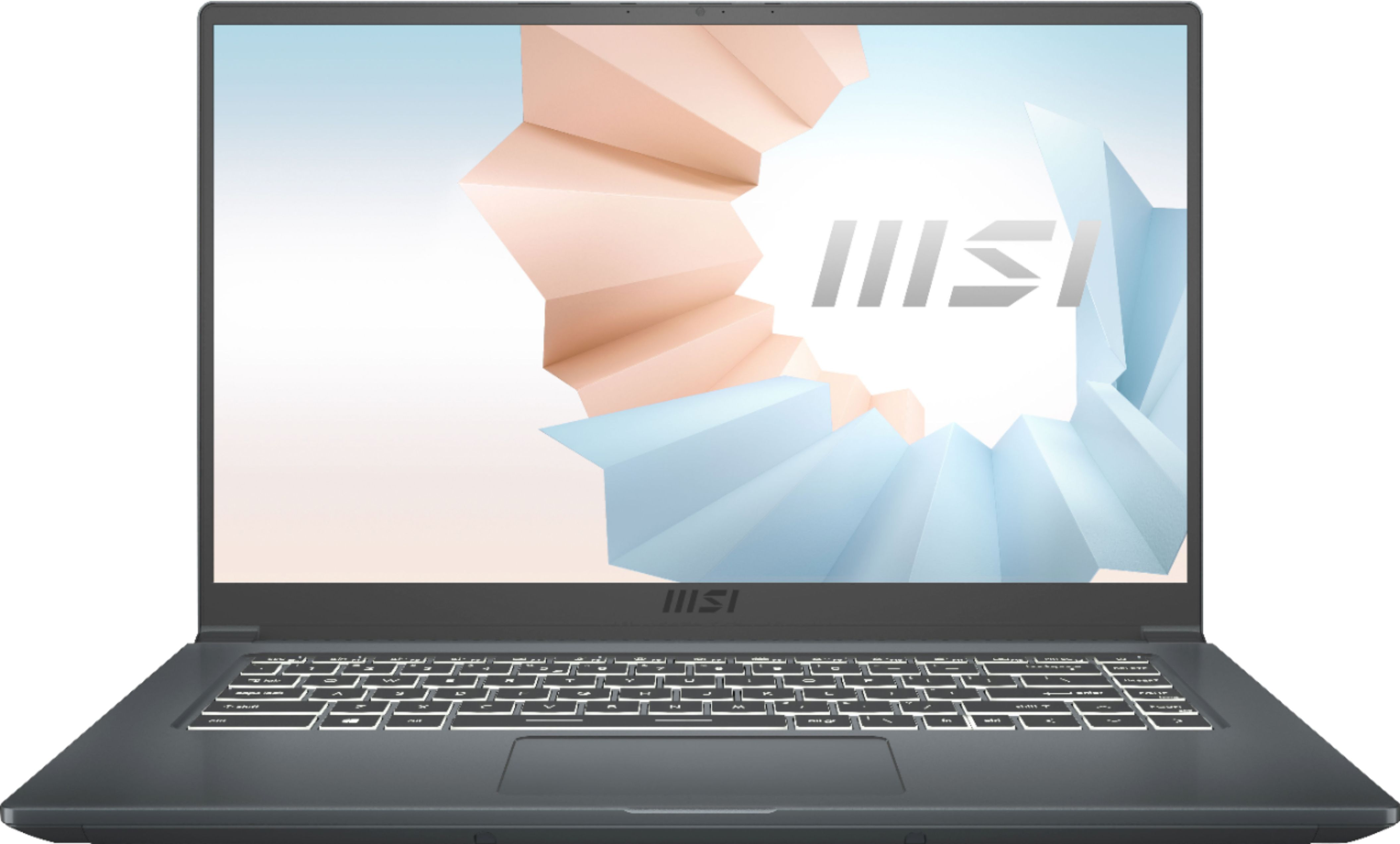 "Front Zoom. MSI - Modern 15.6"" Laptop - Intel Core i7 - 16GB Memory - 512GB SSD - Carbon Gray."