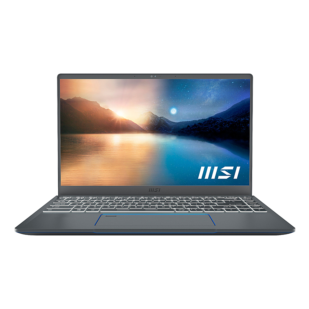 "Front Zoom. MSI - Prestige 14 EVO 14"" Notebook - i7-1185G7 16GB Intel Iris Xe Graphics 512GB SSD - Carbon Gray."