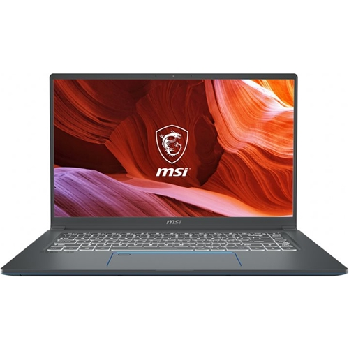 "Front Standard. MSI - Prestige 15 15.6"" 4K Ultra HD Laptop - Intel Core i7 - 32GB Memory - NVIDIA GeForce GTX 1650 - 1TB SSD - Gray With Blue Diamond Cut."