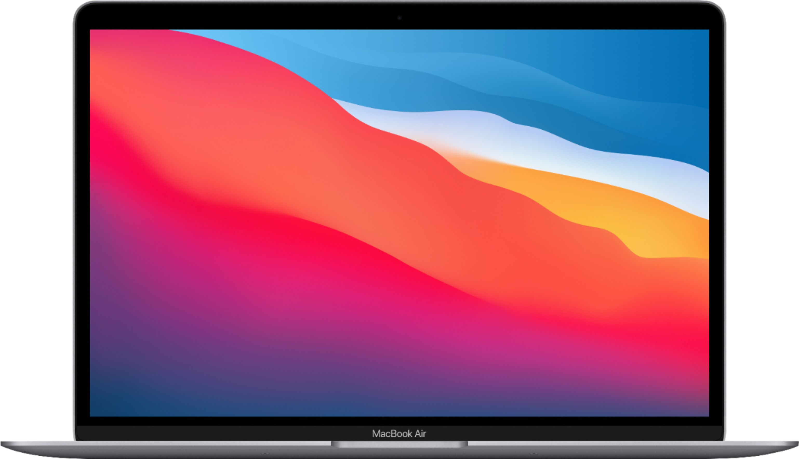 """Front Zoom. MacBook Air 13.3"""" Laptop - Apple M1 chip - 8GB Memory - 256GB SSD (Latest Model) - Space Gray."""