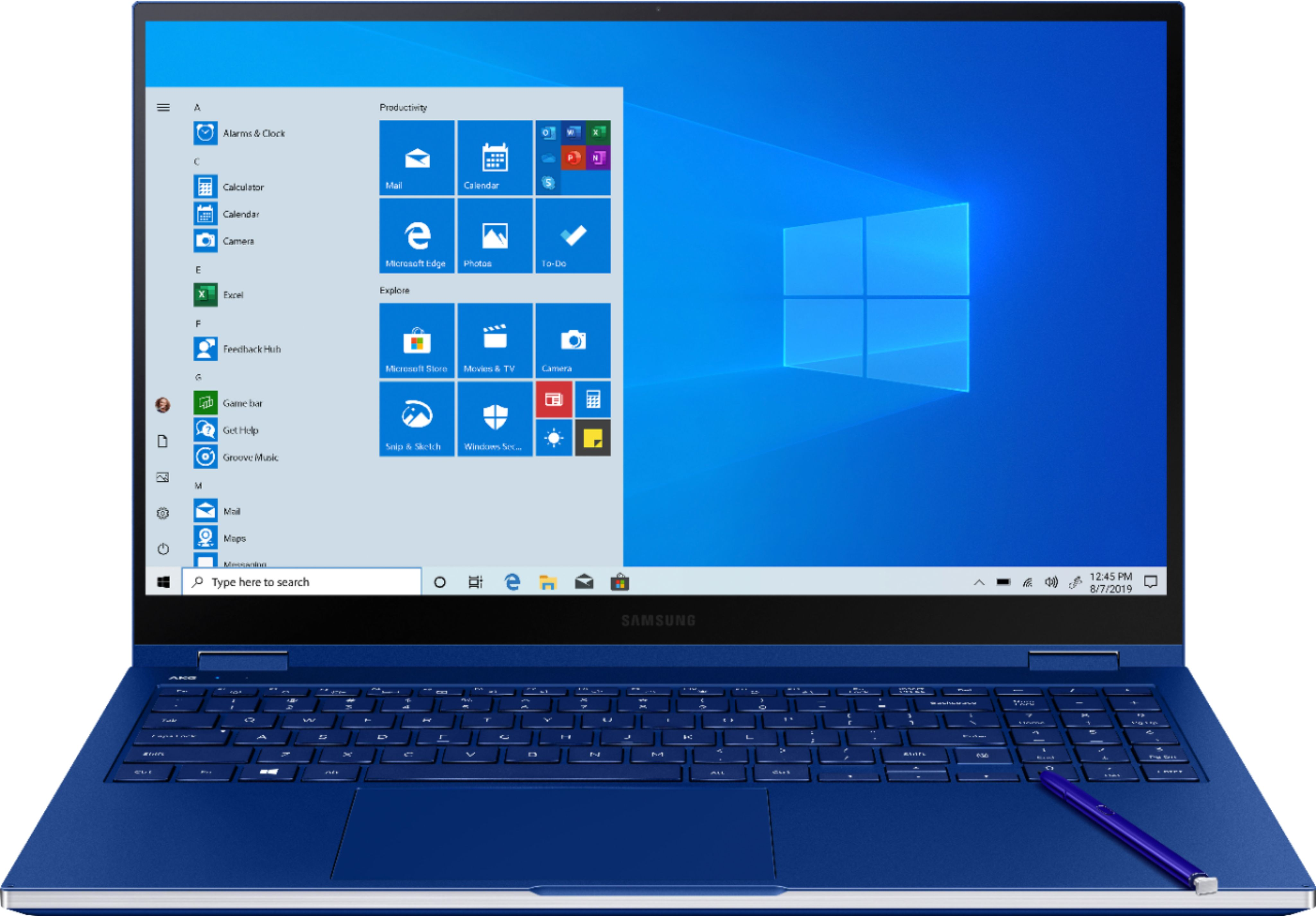 """Front Zoom. Samsung - Galaxy Book Flex 2-in-1 15.6"""" QLED Touch-Screen Laptop - Intel Core i7 - 12GB Memory - 512GB SSD - Royal Blue."""