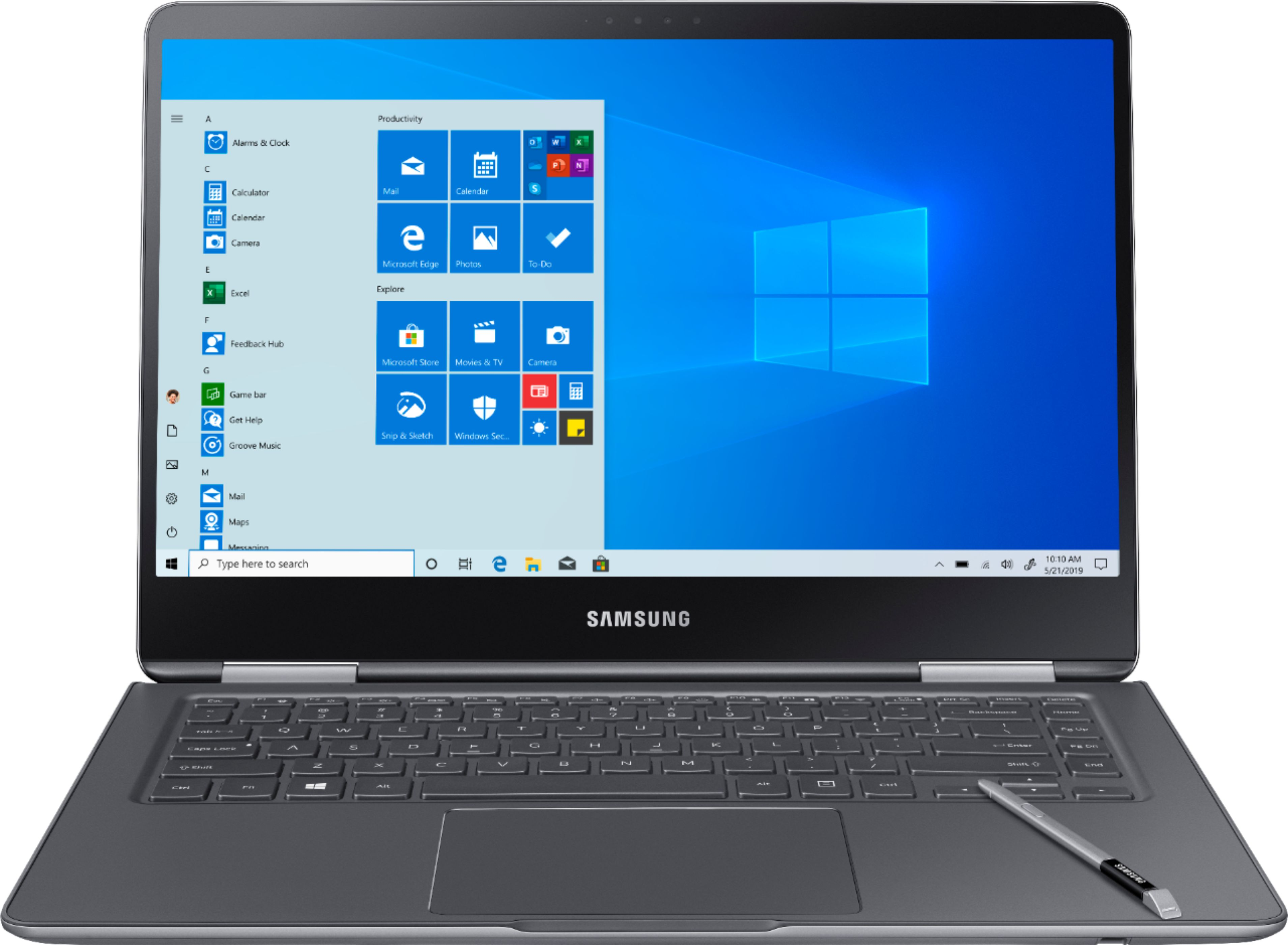 """Front Zoom. Samsung - Notebook 9 Pro - 15"""" Touch-Screen Laptop – Intel Core i7 – 16GB Memory – AMD Radeon 540 – 256GB Solid State Drive - Titan silver."""
